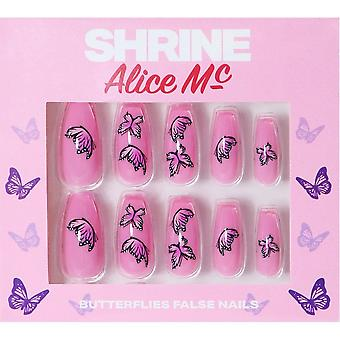 Shrine Alice MC X Shrine High Quality False Nails - Butterfly (Coffin)