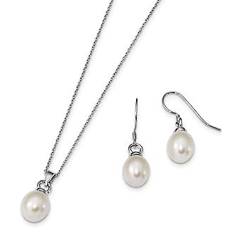 925 Sterling Silver Rh 10 11mm Freshwater Cultured Pearl Earrings Necklace Set Jewelry Gifts for Women
