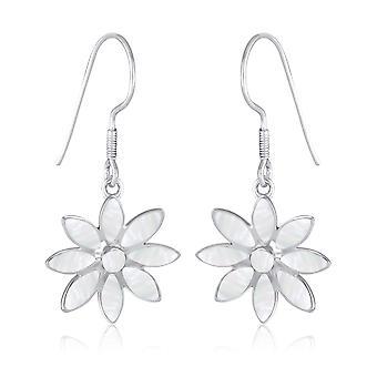 ADEN 925 Sterling Silver White Pareloorbellen bloem (id 2970)