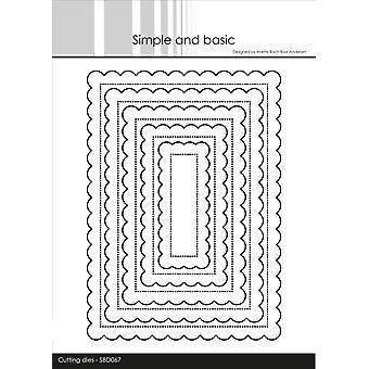 Enkla och grundläggande scalloped rektanglar Dies