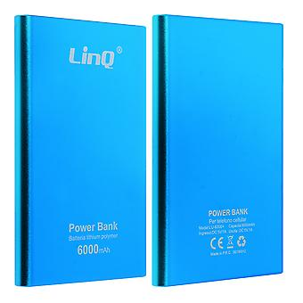 Universal Powerbank 6000 mAh LinQ 3 in 1 cable - blue