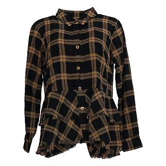 Joan Rivers Women's Top Long Sleeve Button Down Brown