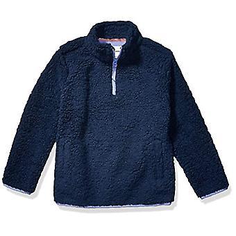 Essentials Toddler Girl&s Polar Fleece Fodrad Sherpa Quarter-Zip Jacka, Tvättad Marin, 3T