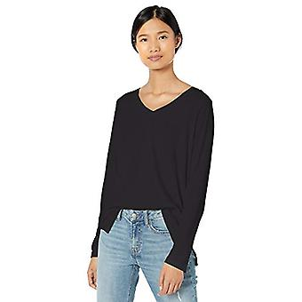 Brand - Goodthreads Women's Washed Jersey Cotton Long-Sleeve V-Neck T-Shirt, Black, X-Small