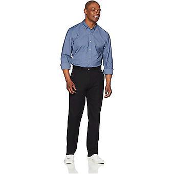 Essentials Men's Classic-Fit Falten-resistente Flache-Front Chino Hose, True Black, 32W x 34L