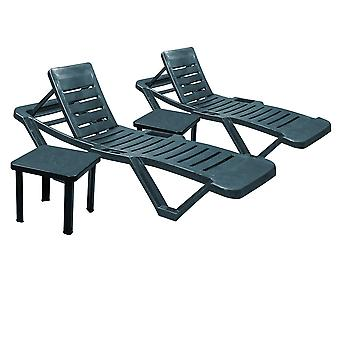 Resol Master Garden Sun Loungers with Side Tables - AdjusTables Reclining Outdoor Summer Furniture - Green - 4pc Set