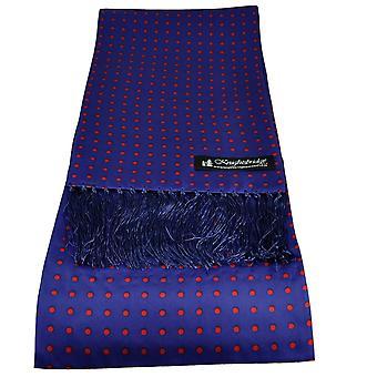 Krawatten Planet Knightsbridge Royal Blue & Red Polka Dot Men's Aviator Seide Schal