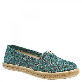 ليوناردو أحذية المرأة & apos;ق المصنوعة يدويا زلة على جولة أصابع اليد espadrilles في النسيج الأخضر
