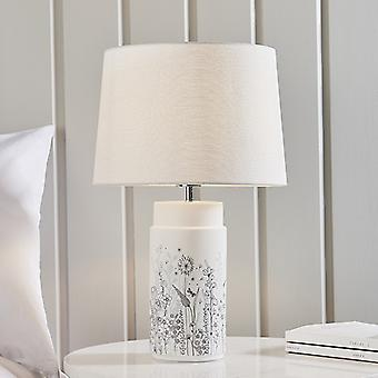 Tischlampe weiß Glasur & Vintage weiß Leinen 1 Licht IP20 - E27