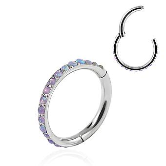 16 Gauge ( 1.2MM ) - 8MM Diameter Real Pink Opal Stone Edge 316L Surgical Steel Hinged Clicker Segment Ring Ear Septum Tragus Helix Piercing Jewellery