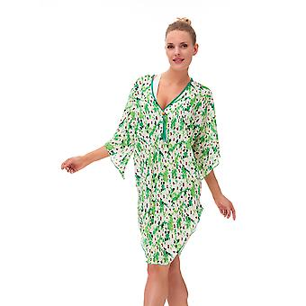 Aqua Perla Womens Greeny Printed Bikini Cover up Beach Dress