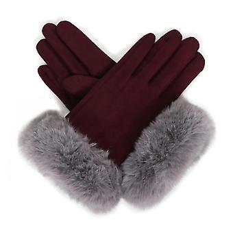 Powder Bettina Faux Suede Gloves | Damson/Slate