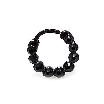 Noir septum clicker 16g acier chirurgical avec des bijoux cz noirs