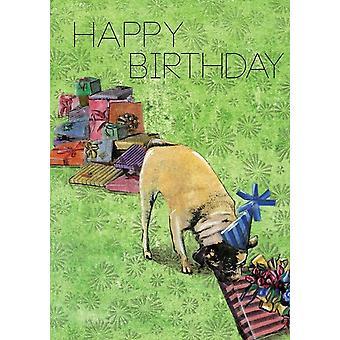 Mopsi lahjalla - Hyvää syntymäpäiväkorttia