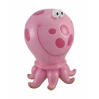 Pink Polka Dot Octopus Children`s Coin Bank 10 In.