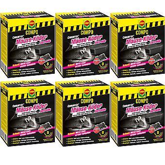 Sparset: 6 x COMPO Cumarax® Mäuse-Köder Getreide, 80 g + 1 Köderbox