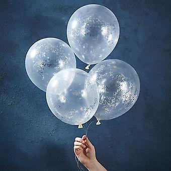 Silver Confetti Glitter Balloons x 5 Chrismas Sparkle Decoration