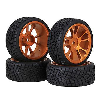 4PCS 65mm Fish Rubber Tire &11 Spaken Gouden velgen voor RC 1:10 On-Road Auto