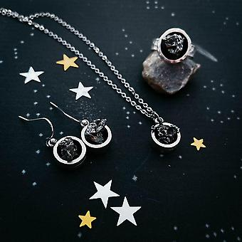 Chunky Round Authentic Meteorite Jewelry Set