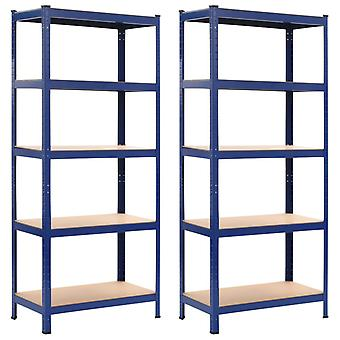 Storage racks 2 pcs. Blue 80 x 40 x 180 cm steel and MDF