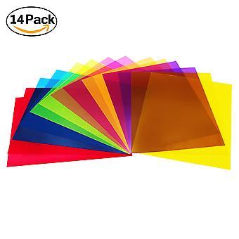 14 Πακέτο χρωματιστές επικαλύψεις διαφάνεια χρώμα ταινία πλαστικά φύλλα διόρθωση gel φως φίλτρο φύλλο, 8