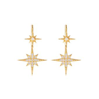 Yellow White Sparkly Star Burst CZ Bridal Jewellery Gift Gold Ear Climber Pair