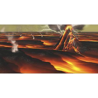 Tämän planeetan on jatkuva purkaukset sen tulivuoria ympäröiviin laavakentille ja virtaa Juliste Tulosta