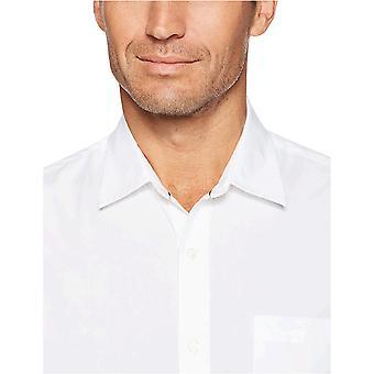 Essentials Men's Regular-Fit Long-Sleeve Solid Casual Poplin Shirt, White, XX-Large