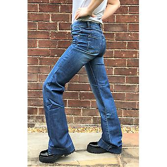 Faded Stonewash Bootcut Jeans - Blue