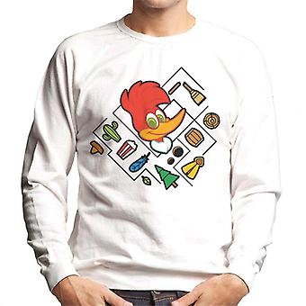 Woody Woodpecker Character Head With Icons Men's Sweatshirt
