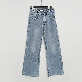 Streetwear Denim, Button Fly Loose Wide Leg, Denim Jeans, Women High Waist,