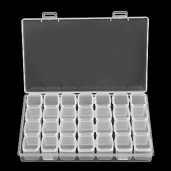 28 Slots Decoration Storage Box Plastic Bead Organizer Jewelry Box Storage Case