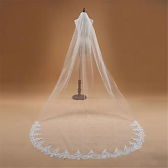 One Layer Lace Edge Cathedral Wedding Veil, Long Bridal Accessories