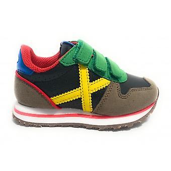 Shoes Baby Munich Sneaker With Strap Mini Massana Suede/ Grey Leather/ Black/ Multi Z21mu02