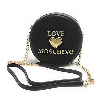 Женская сумка Любовь Moschino Круглый плечевой ремень в эко-коже Черный / Золотой B21mo61