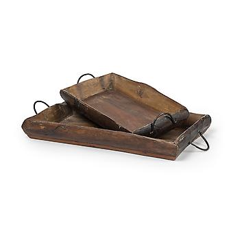 S/2 Medium Brown Recycled Wood With Flaunt Metal Handles Trays