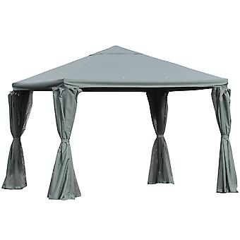 Outsunny 3(m) Outdoor Gazebo Canopy Party Tent Garden Pavilion Patio Shelter Aluminum Frame with Curtains, Netting Sidewalls, Grey