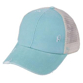 Ponytail Baseball Cap, Women Distressed Washed Cotton Trucker Caps