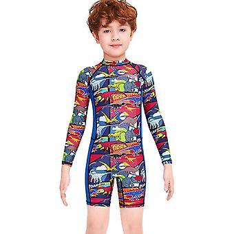 Gyerekek wetsuit hosszú ujjú egy darab UV védelem termikus fürdőruha dfse-3