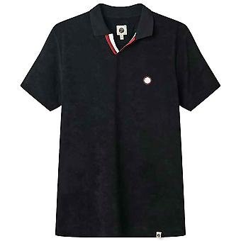 Pretty Green Tilby Terry Towelling Polo Shirt - Black