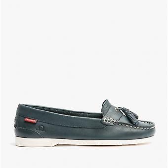 Chatham Arora Ladies Leather Tassel Loafers Navy