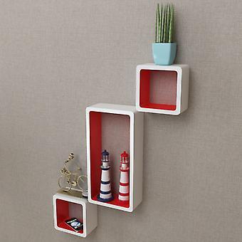 vidaXL Seinähyllyt hyllykuutiot 6 kpl. Valkoinen ja punainen