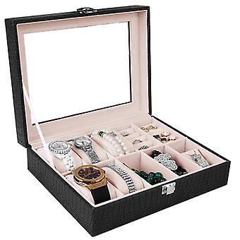 Caja de reloj para 6 relojes y joyas - Negro