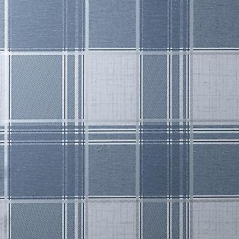 Larson Check Navy Silver Wallpaper
