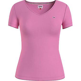Tommy Jeans TJW Slim Jersey V Neck T-Shirt, Pink Daisy, L Femme