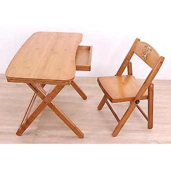 Scrivania da studio pieghevole in legno con cassetto e sedia