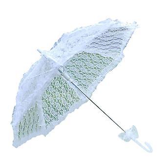 Yksinkertainen pitsi ontto morsian häät sateenvarjo valokuva sisustus rekvisiittaa