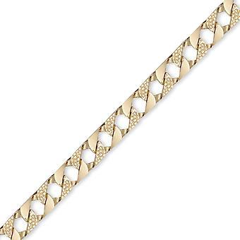 Jewelco لندن السيدات الصلبة 9ct الذهب الأصفر لندن سحلية كبح 9mm قياس اليد تجميعها سلسلة المدلى بها سوار، 7.5 بوصة