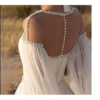 Boncuklu Uzun Kollu A-line Boho Kristal Kemer Gelin Elbisesi