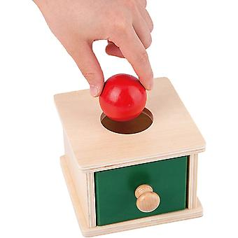 Montessori Wooden Object Permanence Box With Drawer And Wood Ball For Montessori Babies